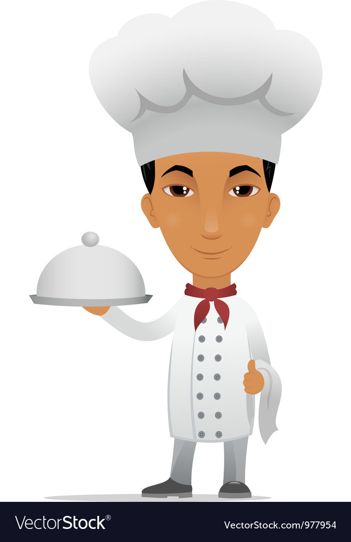 Chef with main course vector | Price: 3 Credit (USD $3)