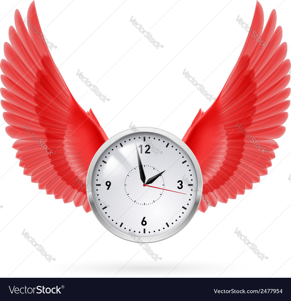 Clock and red wings vector | Price: 1 Credit (USD $1)