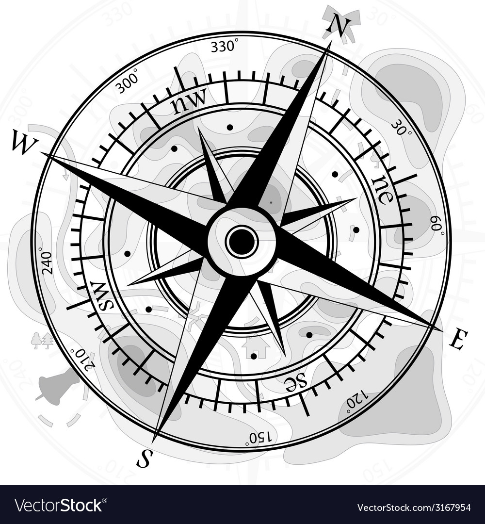 Compass with map vector | Price: 1 Credit (USD $1)
