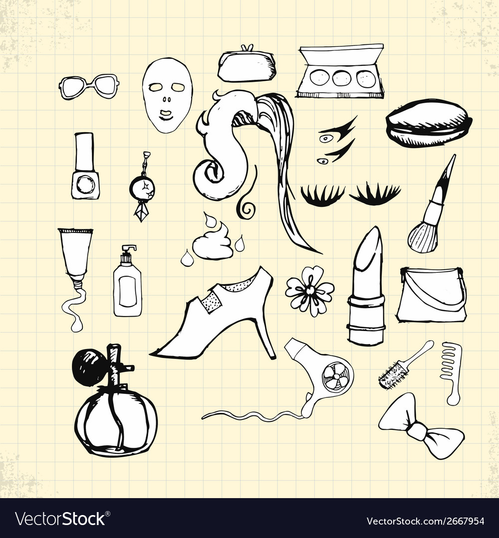 Doodle beauty on paper vector | Price: 1 Credit (USD $1)