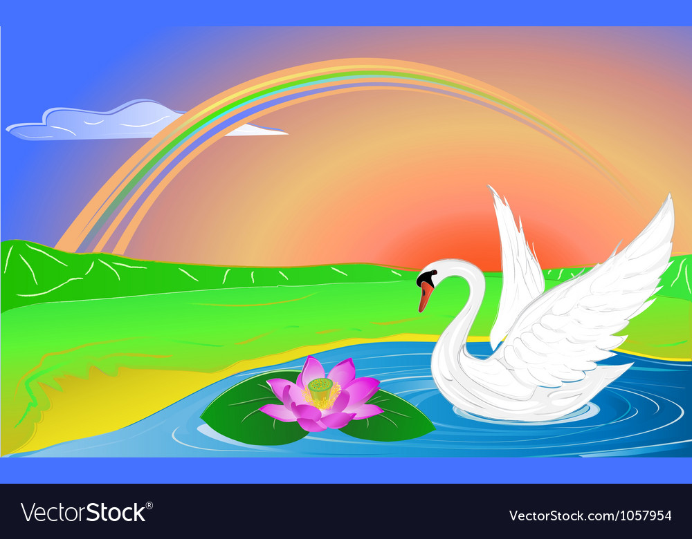 Lotus and swan vector | Price: 1 Credit (USD $1)