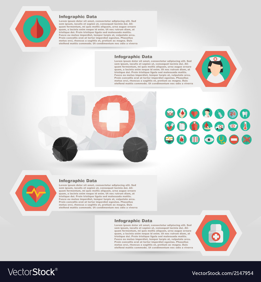 Medical infographic element with icon in crumpled vector | Price: 1 Credit (USD $1)