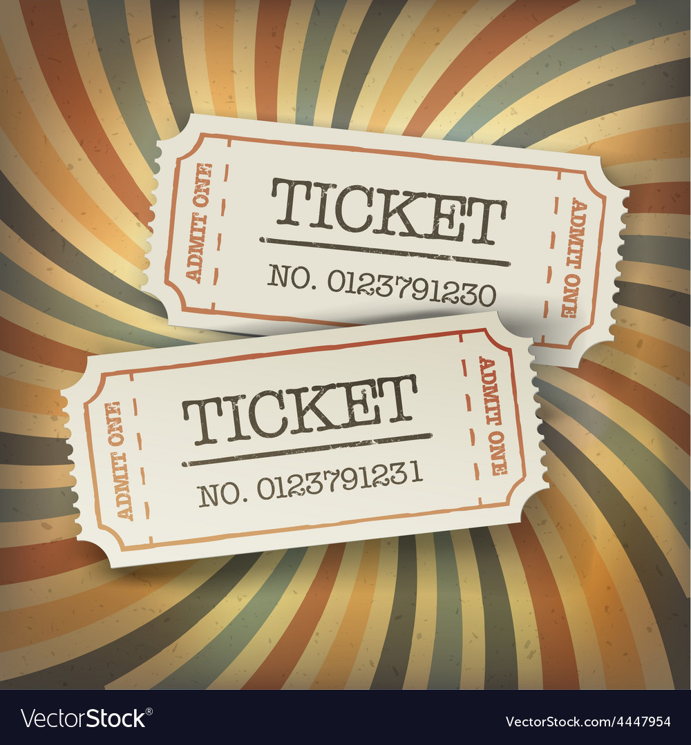 Retro tickets on sunburst vector | Price: 1 Credit (USD $1)
