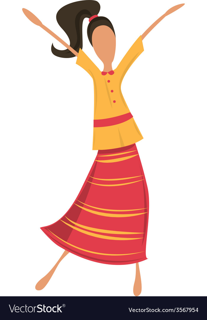 Retro woman or hipster dancing in retro dress vector | Price: 1 Credit (USD $1)