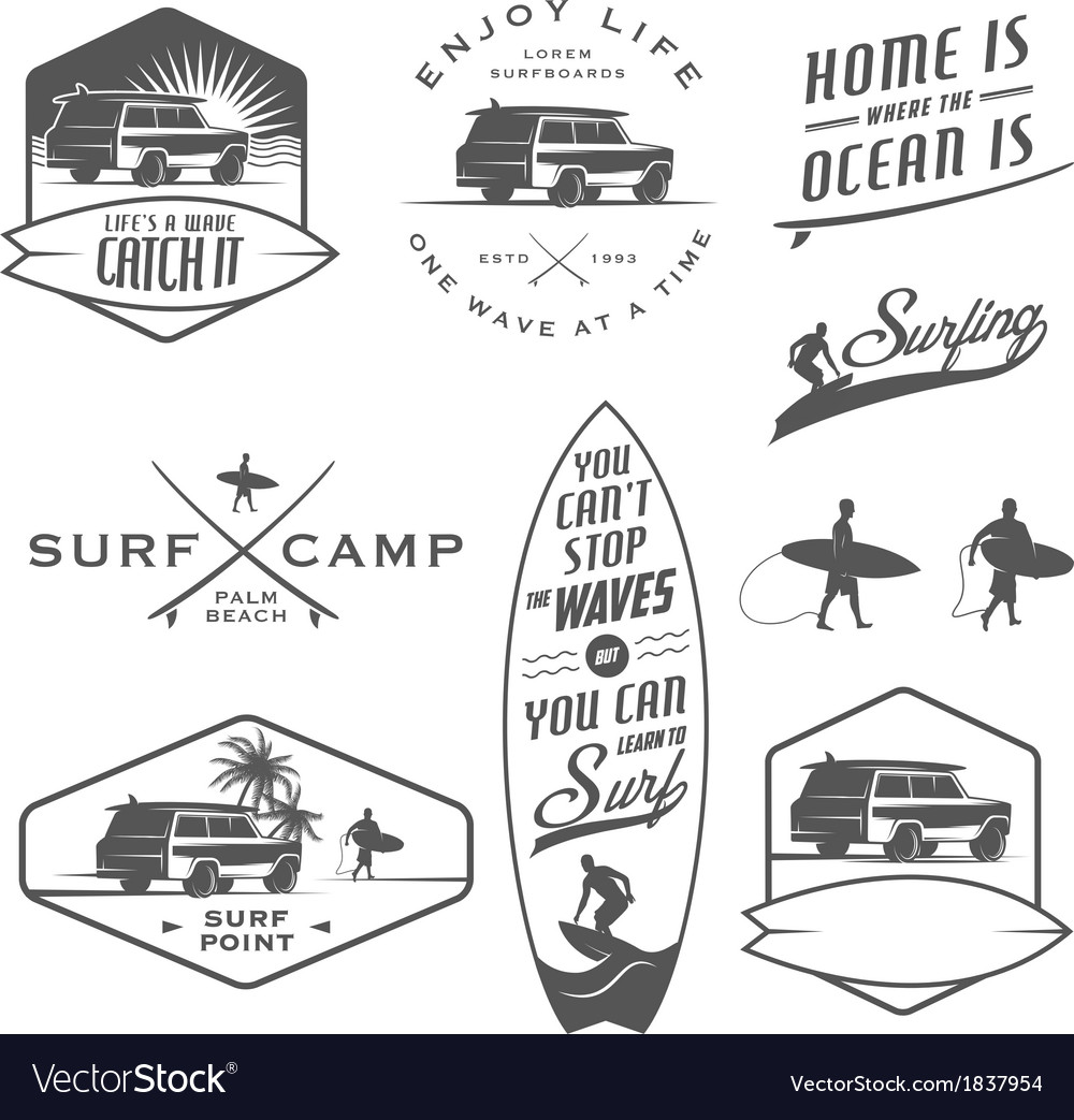 Set of vintage surfing design elements vector | Price: 1 Credit (USD $1)