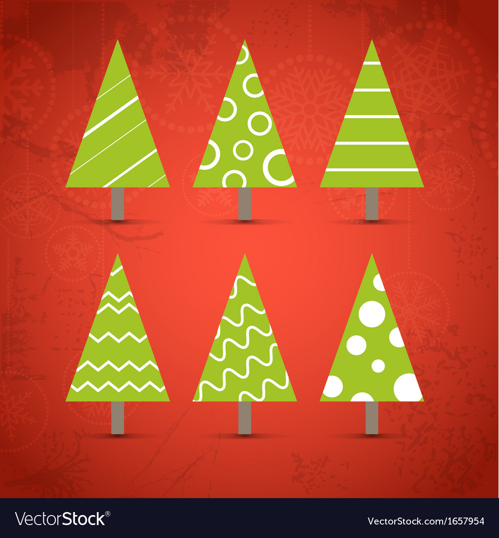 Six ornamented christmas trees collection vector | Price: 1 Credit (USD $1)