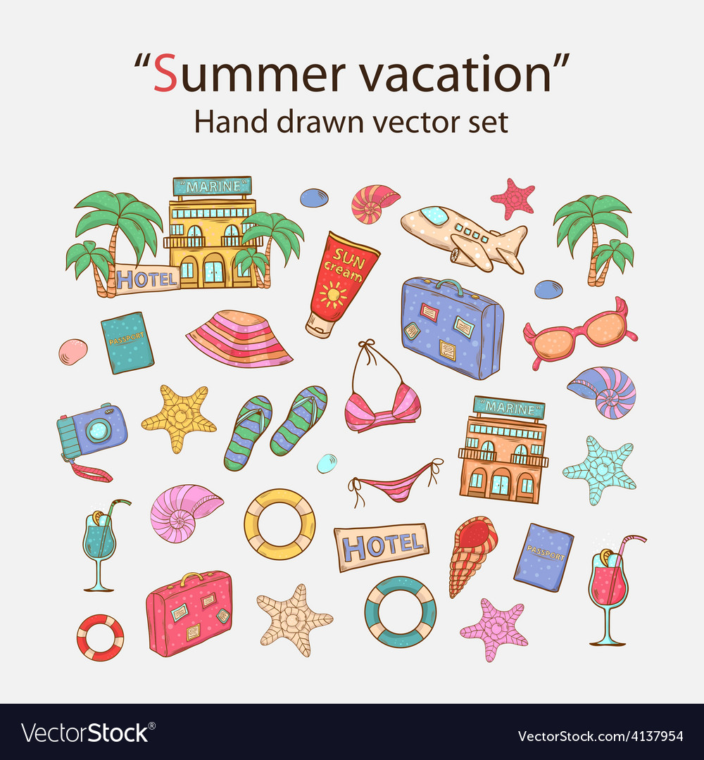 Summer vacation doodle set vector   Price: 1 Credit (USD $1)