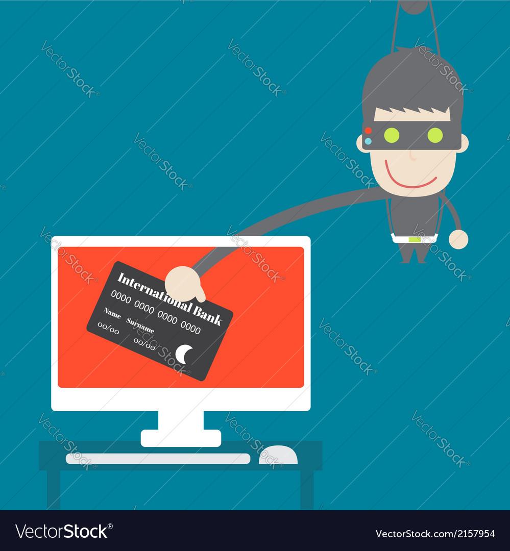 Thief credit card data from desktop cartoon vector | Price: 1 Credit (USD $1)