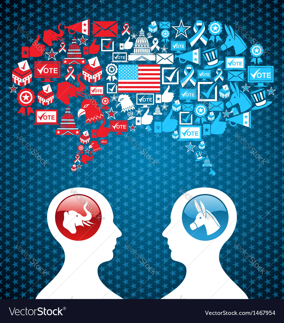Usa political elections social discussion vector | Price: 1 Credit (USD $1)