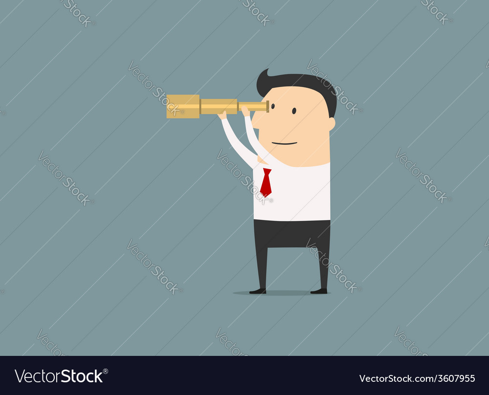 Cartoon businessman looking through a telescope vector | Price: 1 Credit (USD $1)