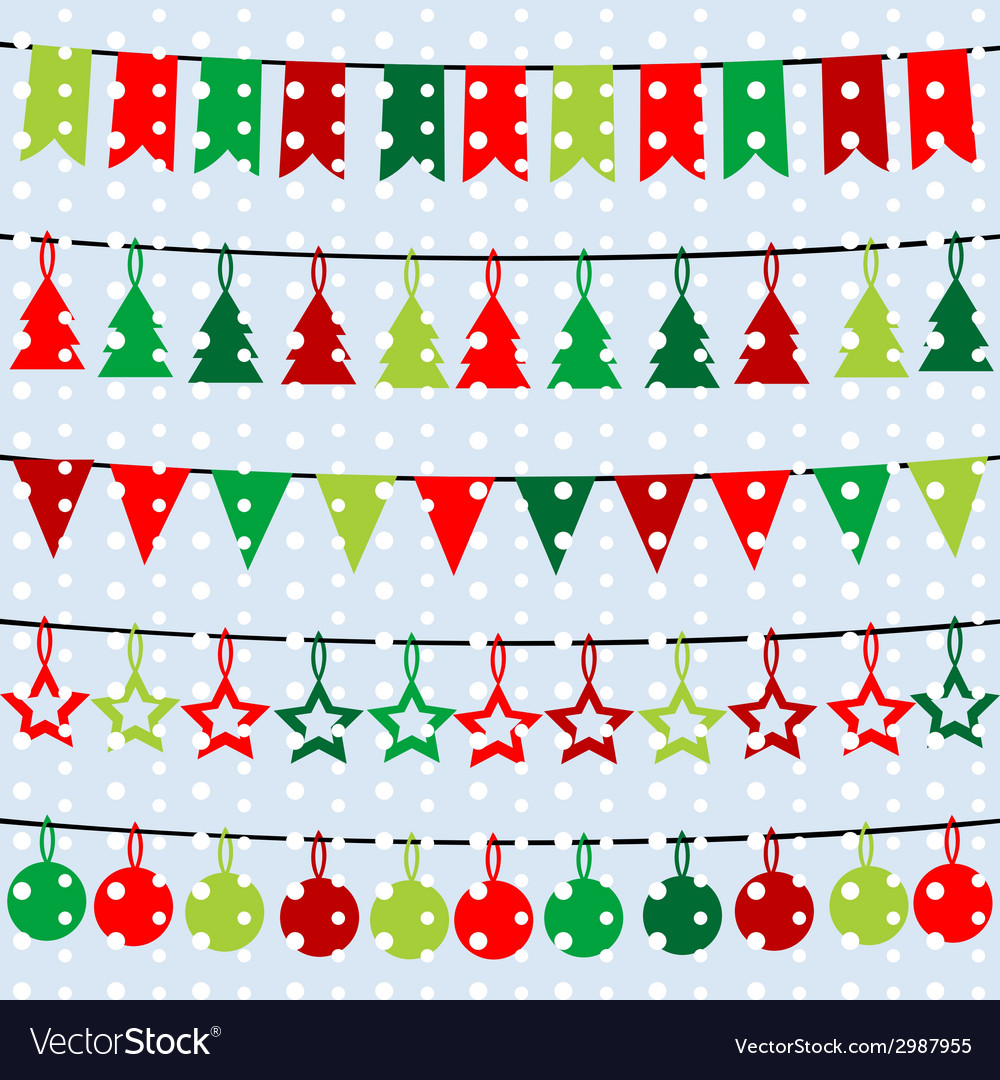 Christmas background with garlands and buntings vector | Price: 1 Credit (USD $1)