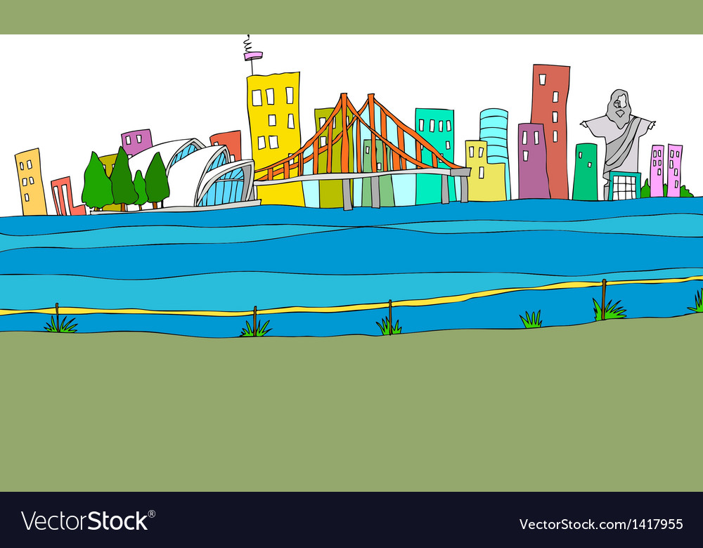 Cityscape drawing vector | Price: 1 Credit (USD $1)