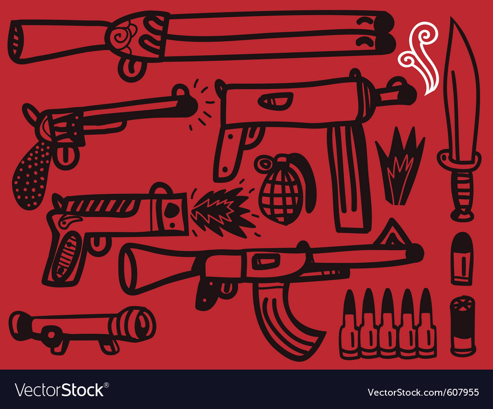 Firearms set vector | Price: 1 Credit (USD $1)