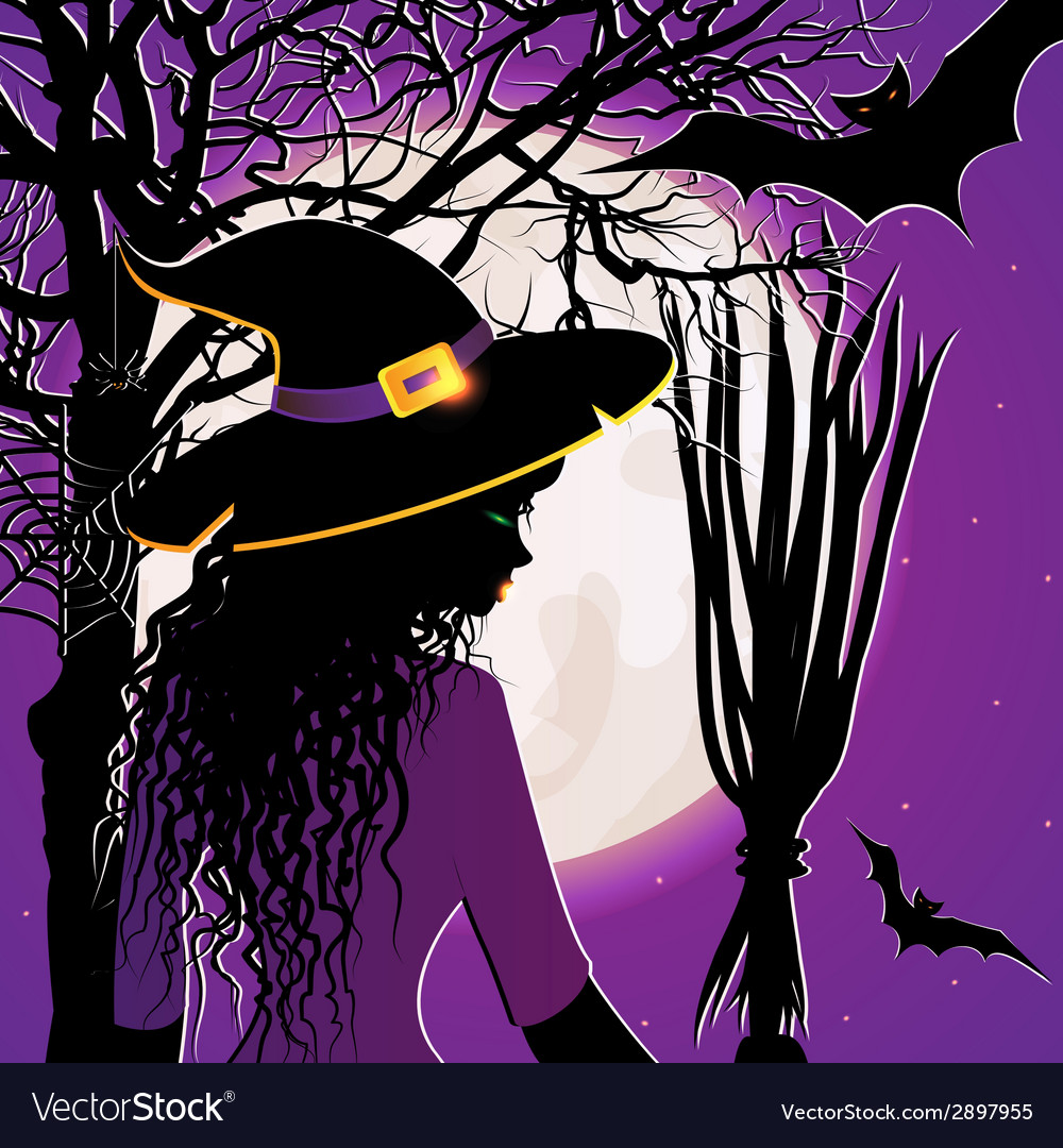 Halloween background with young witch vector
