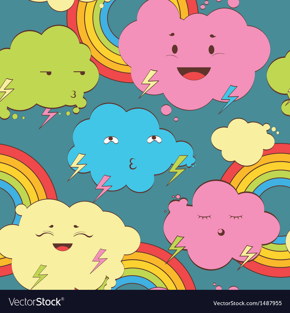 Happy rainy color clouds seamless pattern vector | Price: 1 Credit (USD $1)