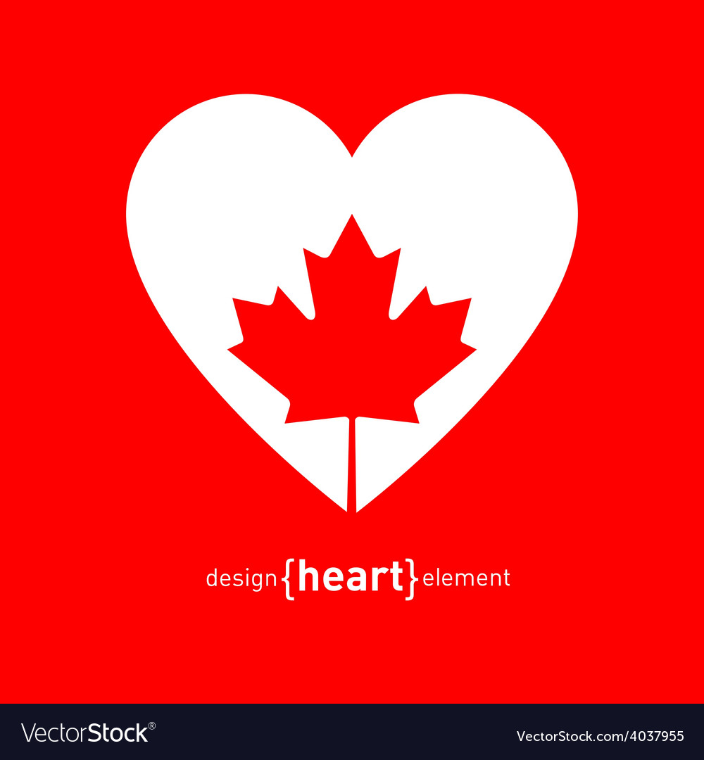 Heart with canadian maple leaf vector | Price: 1 Credit (USD $1)