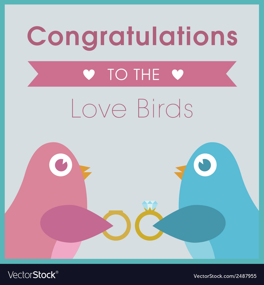Love birds exchanging rings wedding card vector | Price: 1 Credit (USD $1)