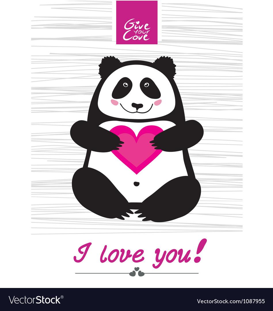 Love you panda vector | Price: 1 Credit (USD $1)