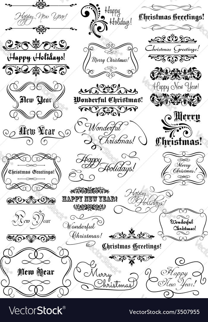 Merry christmas and happy new year calligraphic vector | Price: 1 Credit (USD $1)