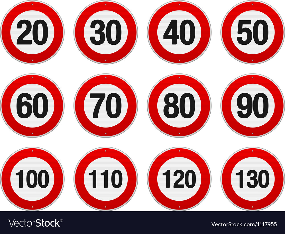 Speed limit sign set vector | Price: 1 Credit (USD $1)