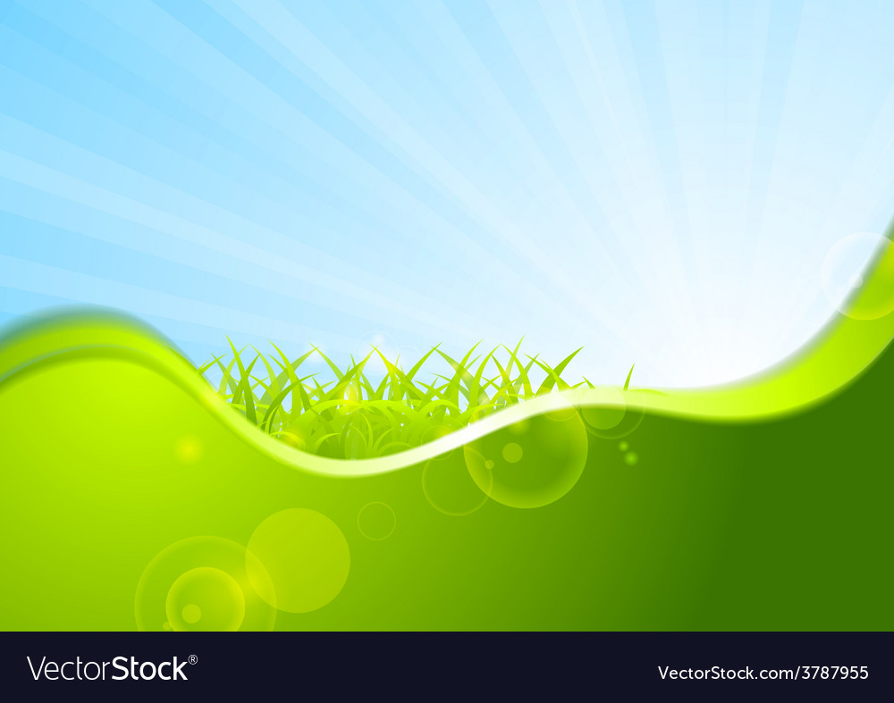 Summer background with wave and grass vector | Price: 1 Credit (USD $1)