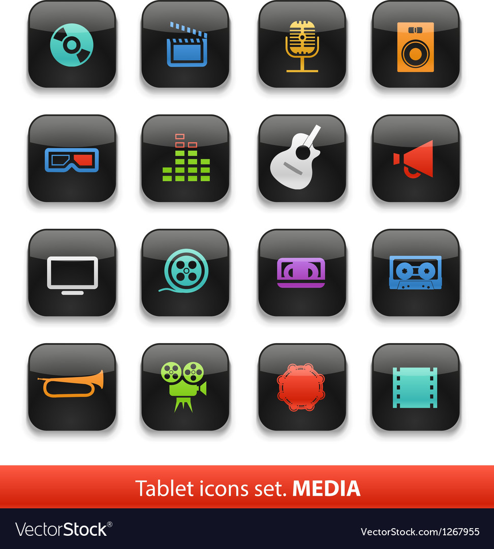 Tablet buttons collection isolate vector | Price: 1 Credit (USD $1)