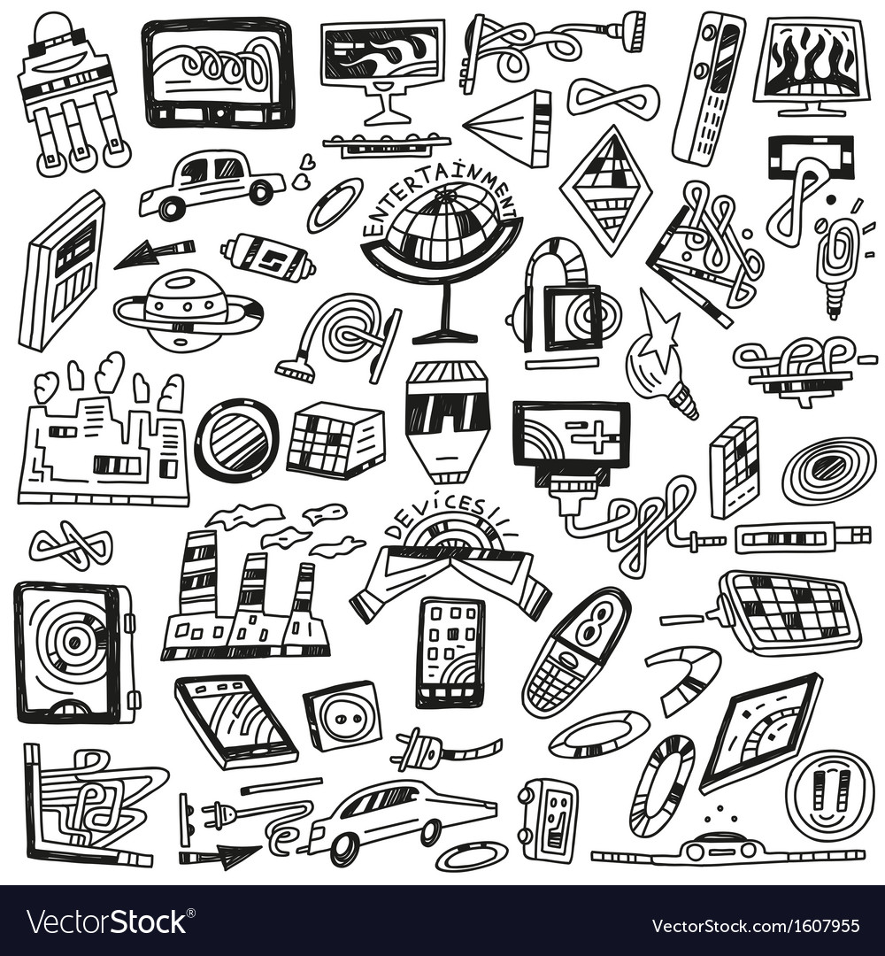 Technology devices doodles - icons vector | Price: 1 Credit (USD $1)