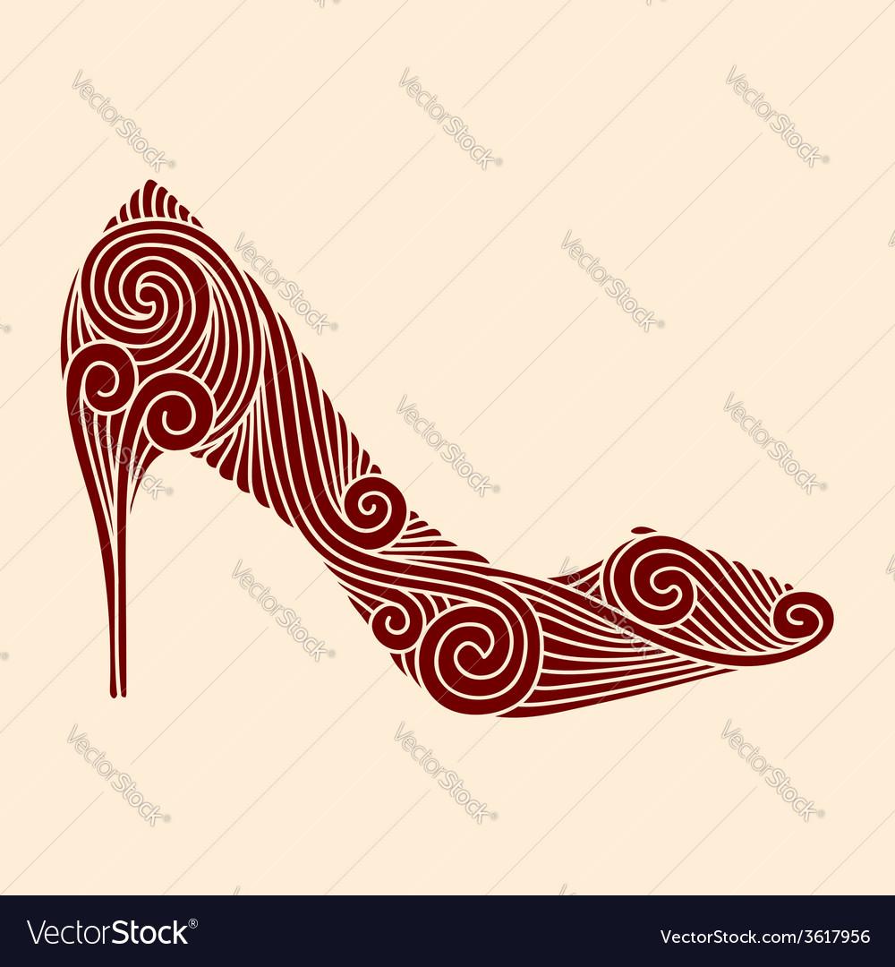 Brown ornamental shoe on light beige background vector | Price: 1 Credit (USD $1)