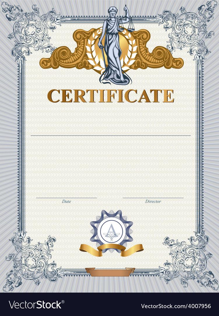 Certificate template with femida vector | Price: 3 Credit (USD $3)