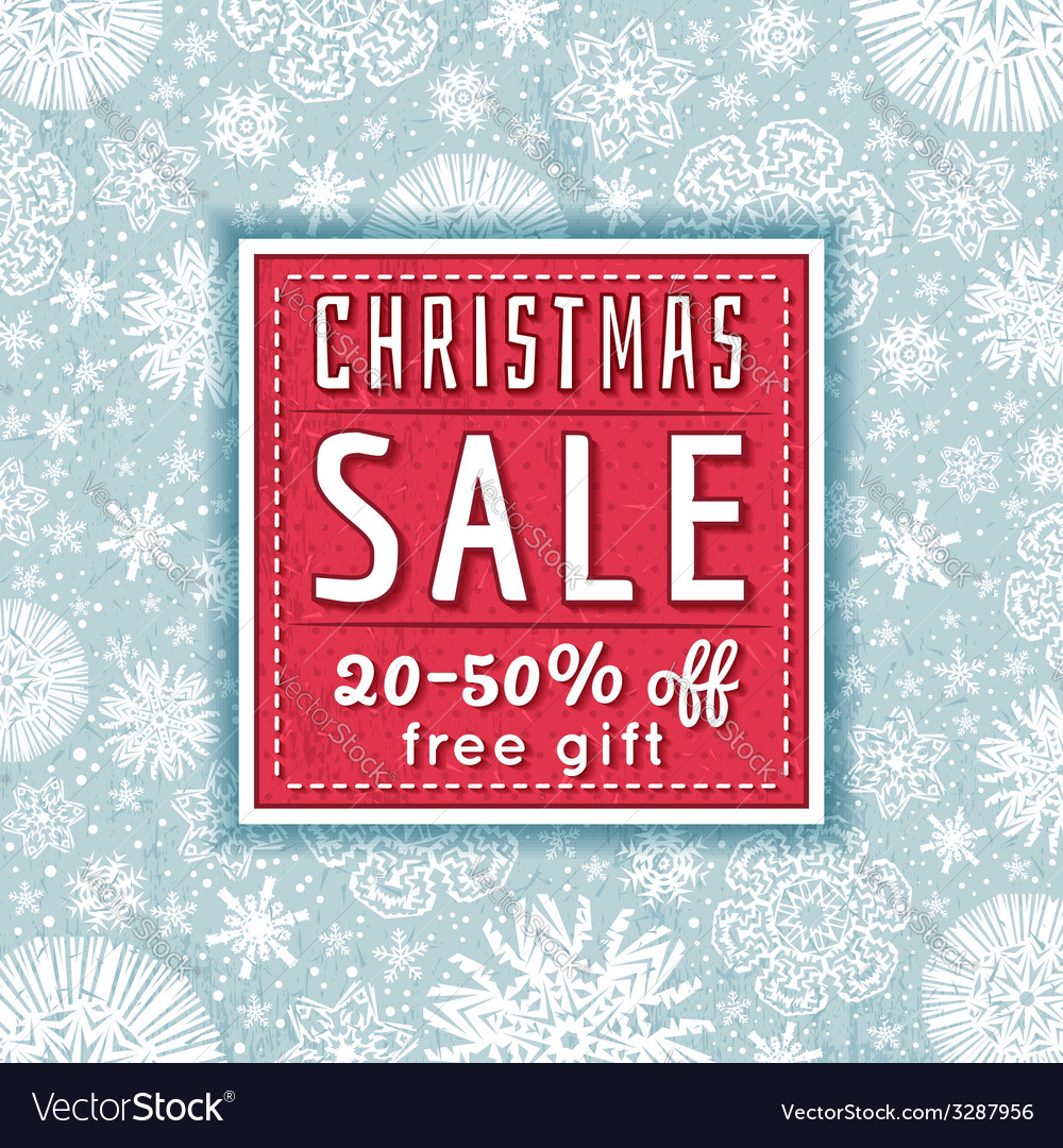 Christmas background and label with sale offeer vector | Price: 1 Credit (USD $1)