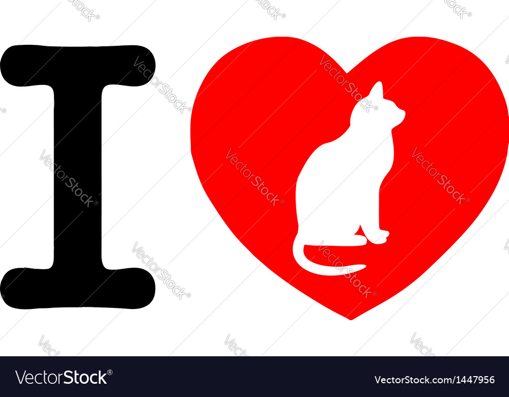 I love my cat vector | Price: 1 Credit (USD $1)