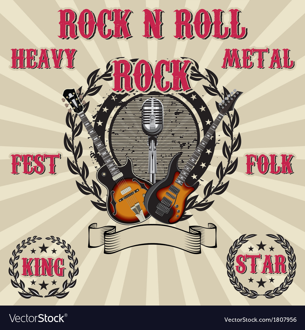Label in rock music with inscriptions vector | Price: 1 Credit (USD $1)