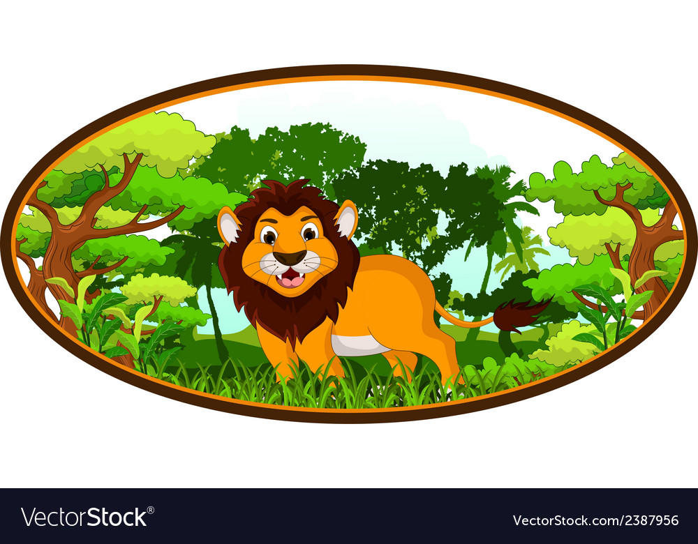 Lion cartoon with forest background vector | Price: 1 Credit (USD $1)