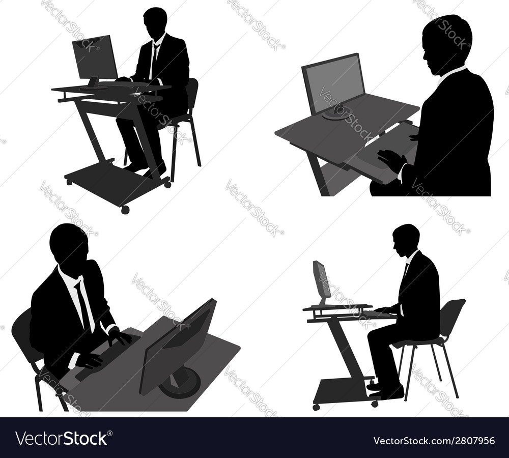 Man working on computer vector | Price: 1 Credit (USD $1)