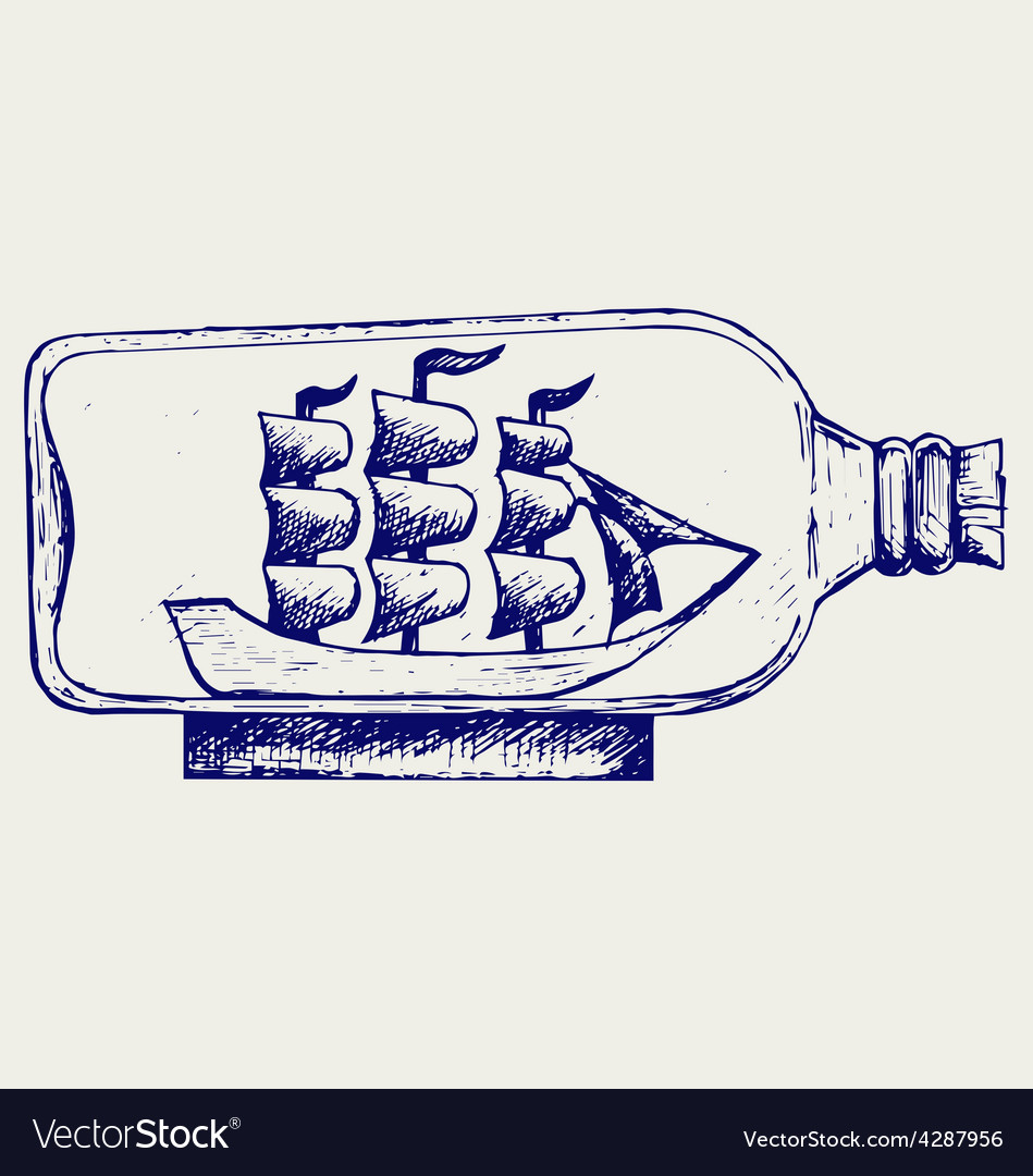 Old sailboat in glass bottle vector | Price: 1 Credit (USD $1)