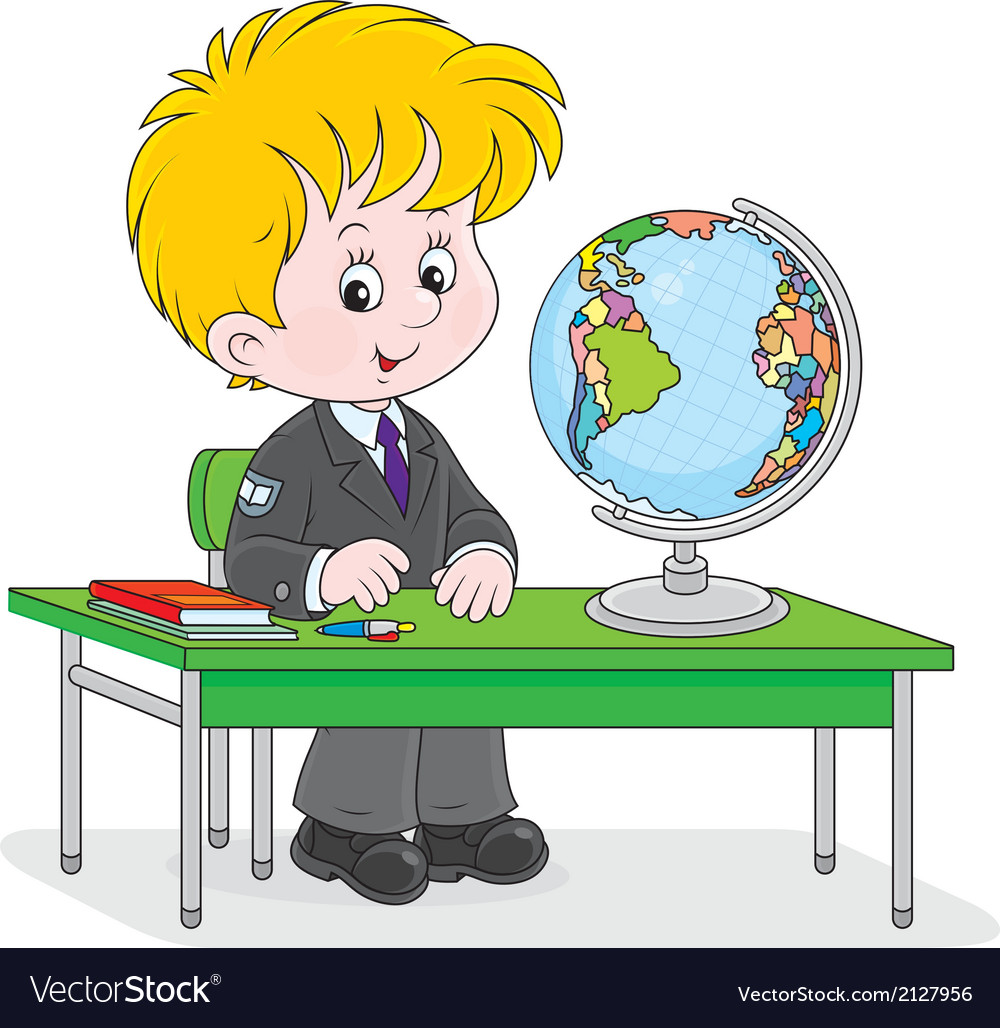 Schoolboy at geography lesson vector | Price: 1 Credit (USD $1)