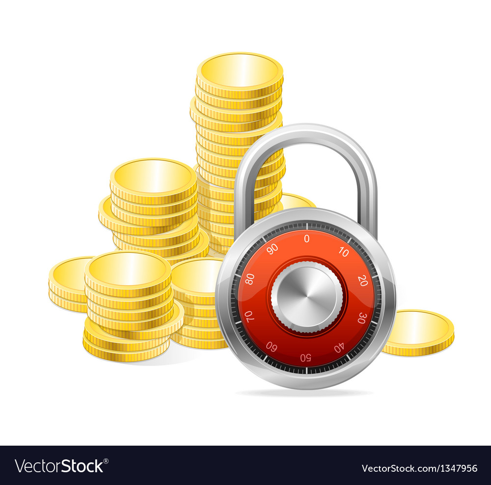 Security concept padlock and money vector | Price: 1 Credit (USD $1)