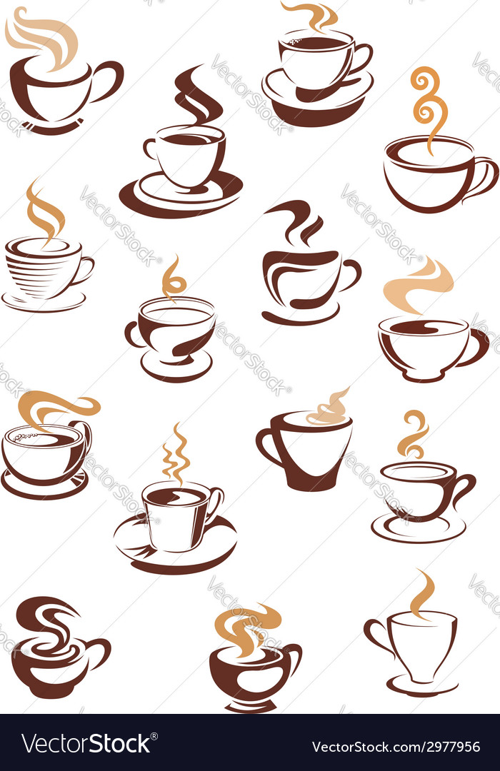 Steaming coffee cups set vector | Price: 1 Credit (USD $1)