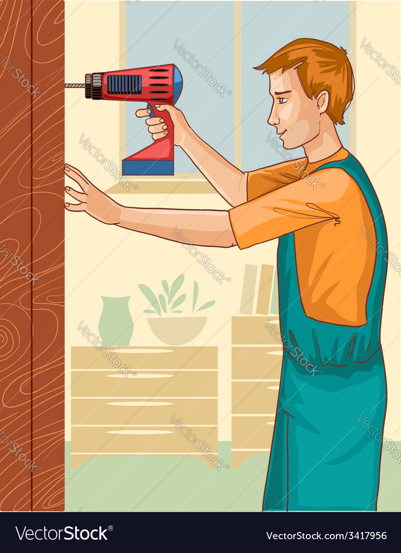Working man with drill at home eps10 vector | Price: 3 Credit (USD $3)
