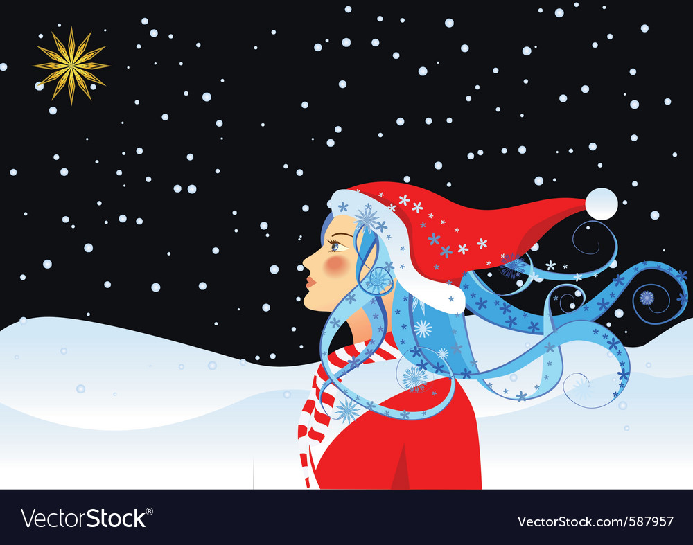 Christmas star and girl vector | Price: 3 Credit (USD $3)