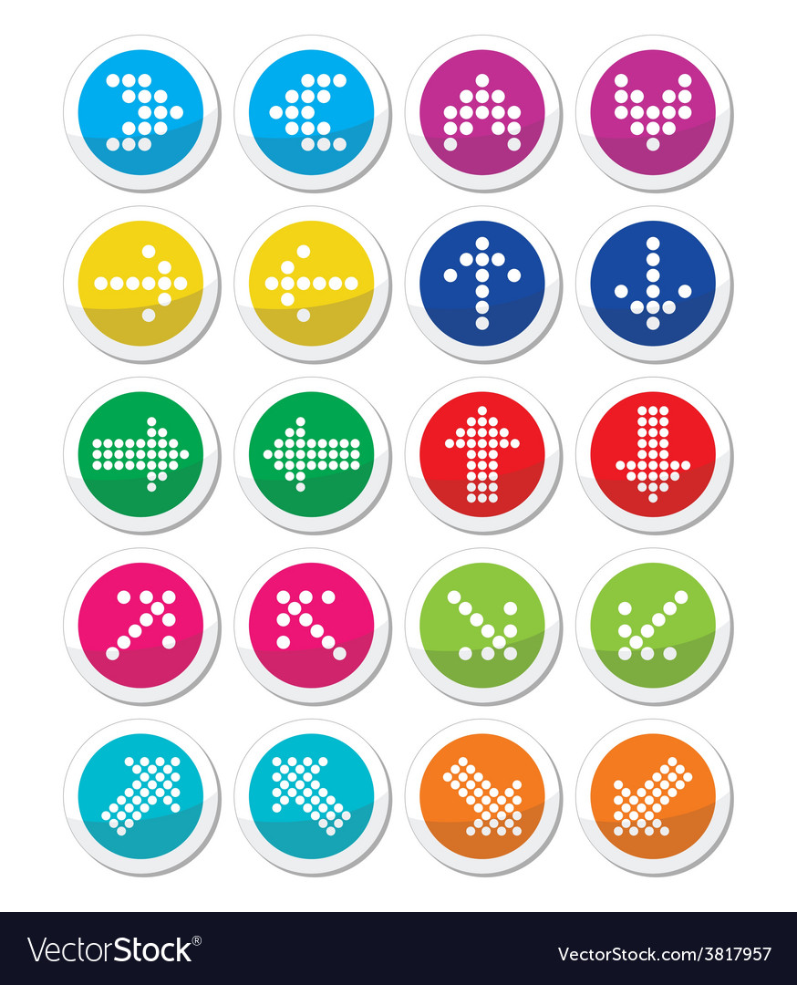 Dotted colorful arrows round icons set isolated on vector | Price: 1 Credit (USD $1)