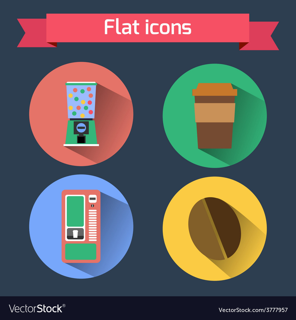 Flat icons vending machines and coffee bean coffee vector | Price: 1 Credit (USD $1)