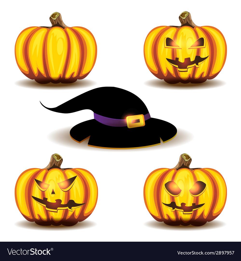 Halloween pumpkins and hat vector   Price: 1 Credit (USD $1)