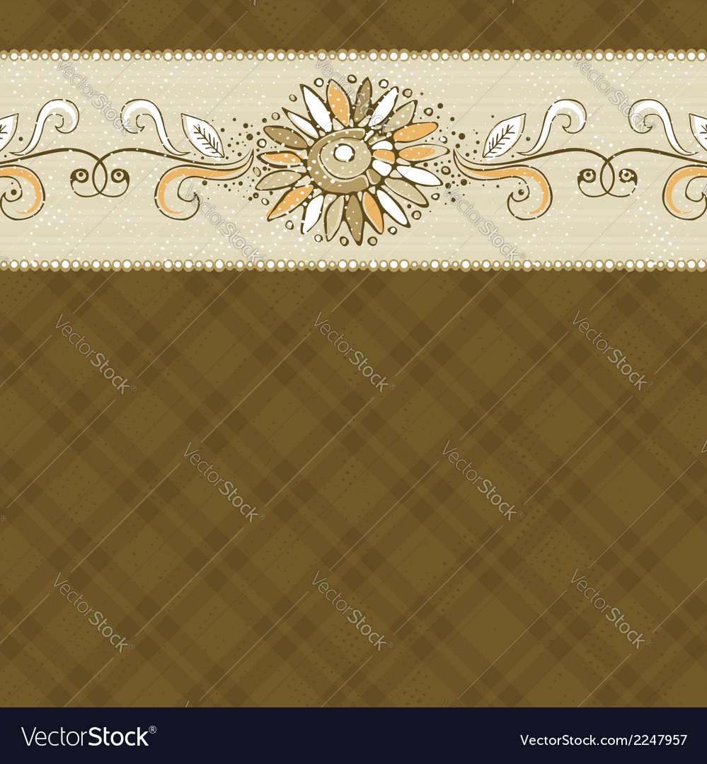 Hand draw flower on checked brown background vector | Price: 1 Credit (USD $1)