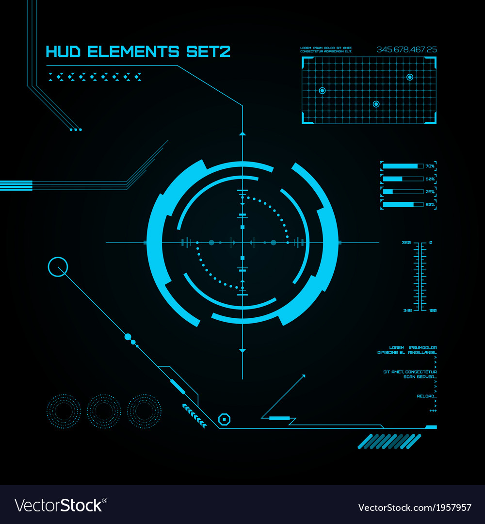 Hud and gui set futuristic user interface vector | Price: 1 Credit (USD $1)