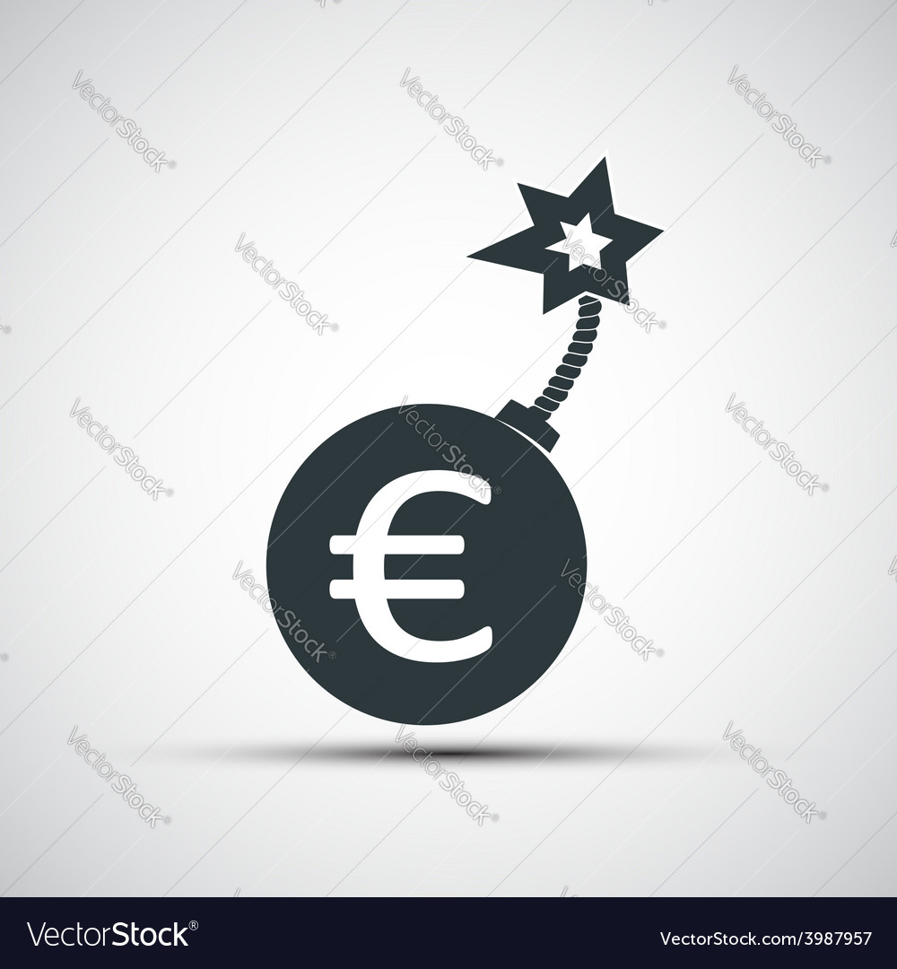 Icon round bomb with a picture of the euro sign vector | Price: 1 Credit (USD $1)