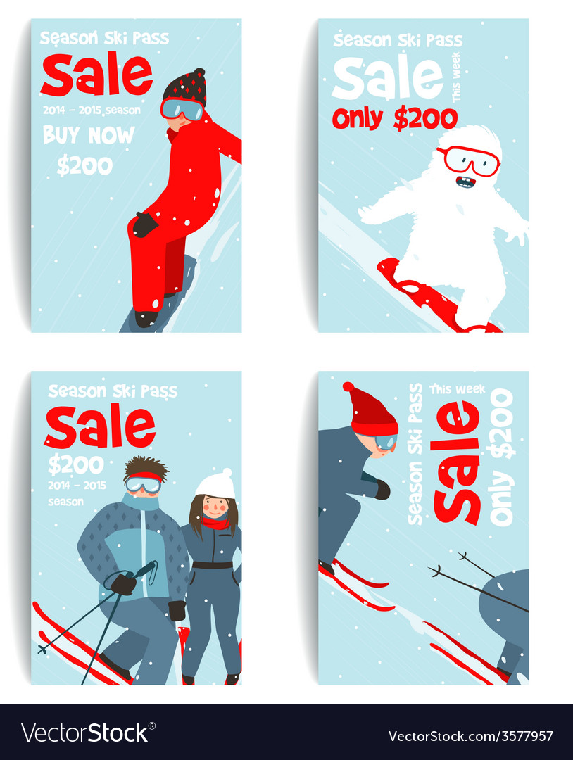 Skier and snowboarder fun winter sport flyer vector | Price: 1 Credit (USD $1)