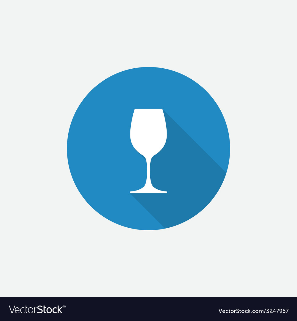 Wineglass flat blue simple icon with long shadow vector | Price: 1 Credit (USD $1)
