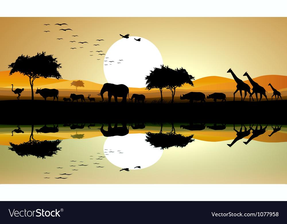 Beauty silhouette of safari animal vector | Price: 1 Credit (USD $1)