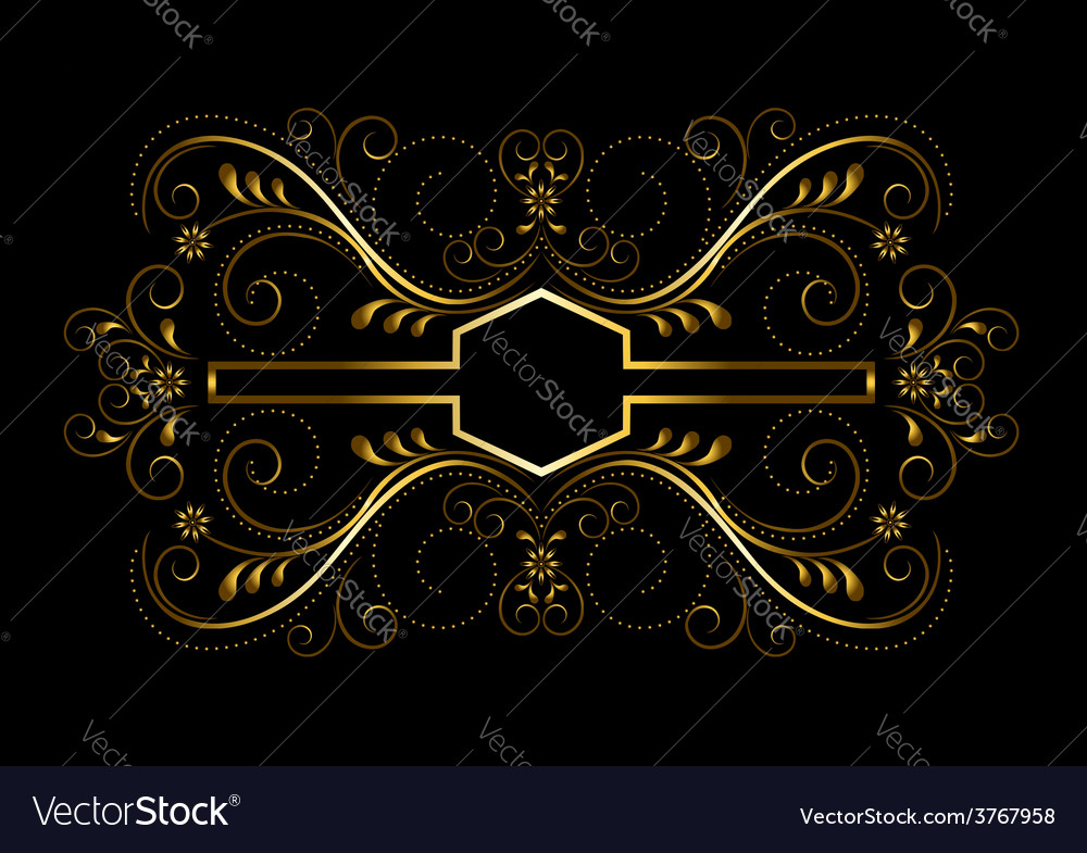 Gold geometric frame with openwork floral decor vector | Price: 1 Credit (USD $1)